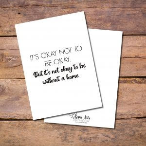 """Postkarte """"Not ok to be without a Horse"""""""